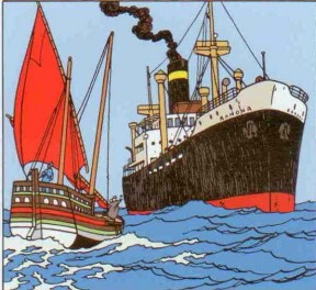 The Ramona being approached by another ship, from Hergé's The Red Sea Sharks