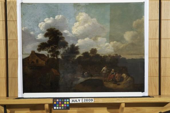 Landscape with Figures after varnish application