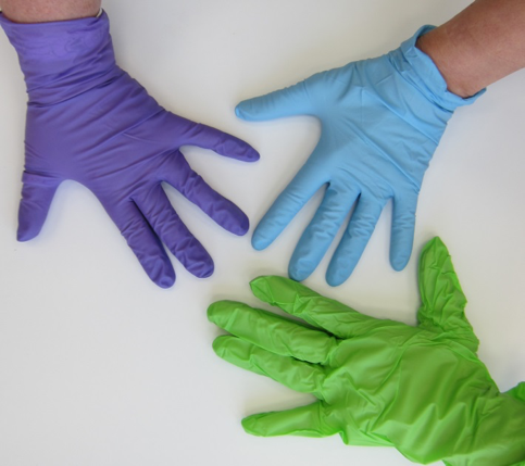 Which of these nitrile gloves is a safer choice for handling art? Colour is not an indicator. Research your options!
