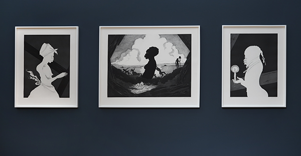 Three black and white etchings of people in silhouette
