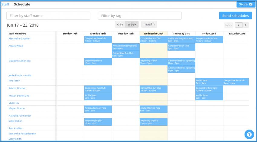 Amilia SmartRec staff schedule week view