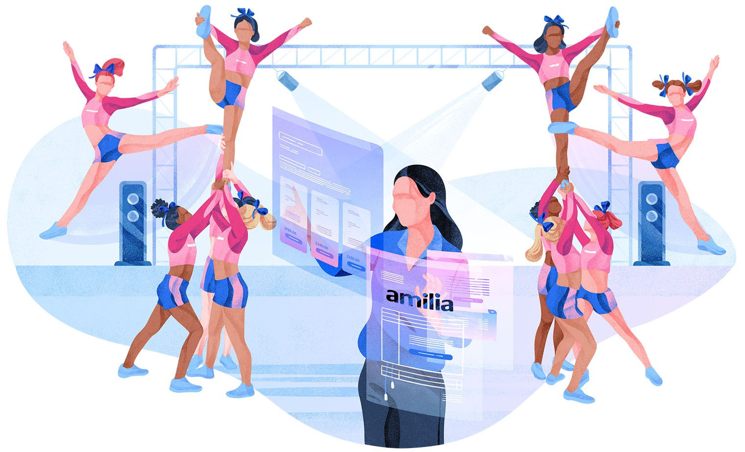 Illustration cheerleading software management coach and team