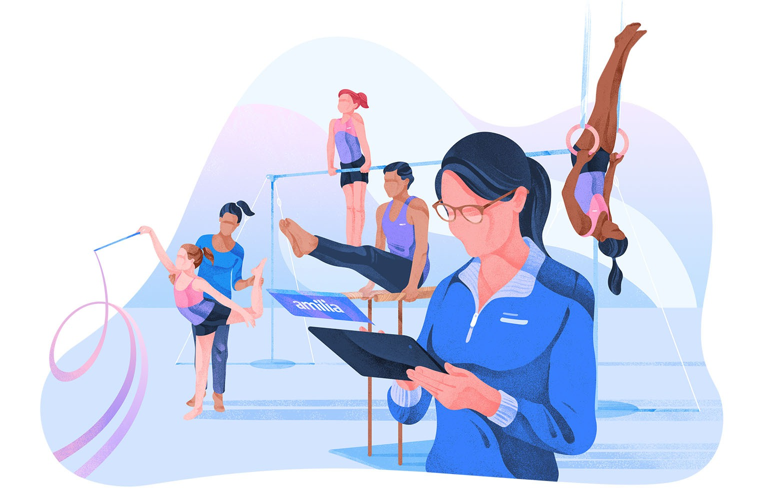 Illustration gymnastics software management coach and staff