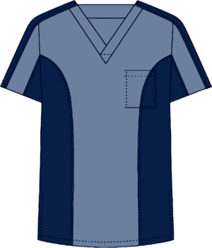 Two Tone V-Neck Scrubs Set