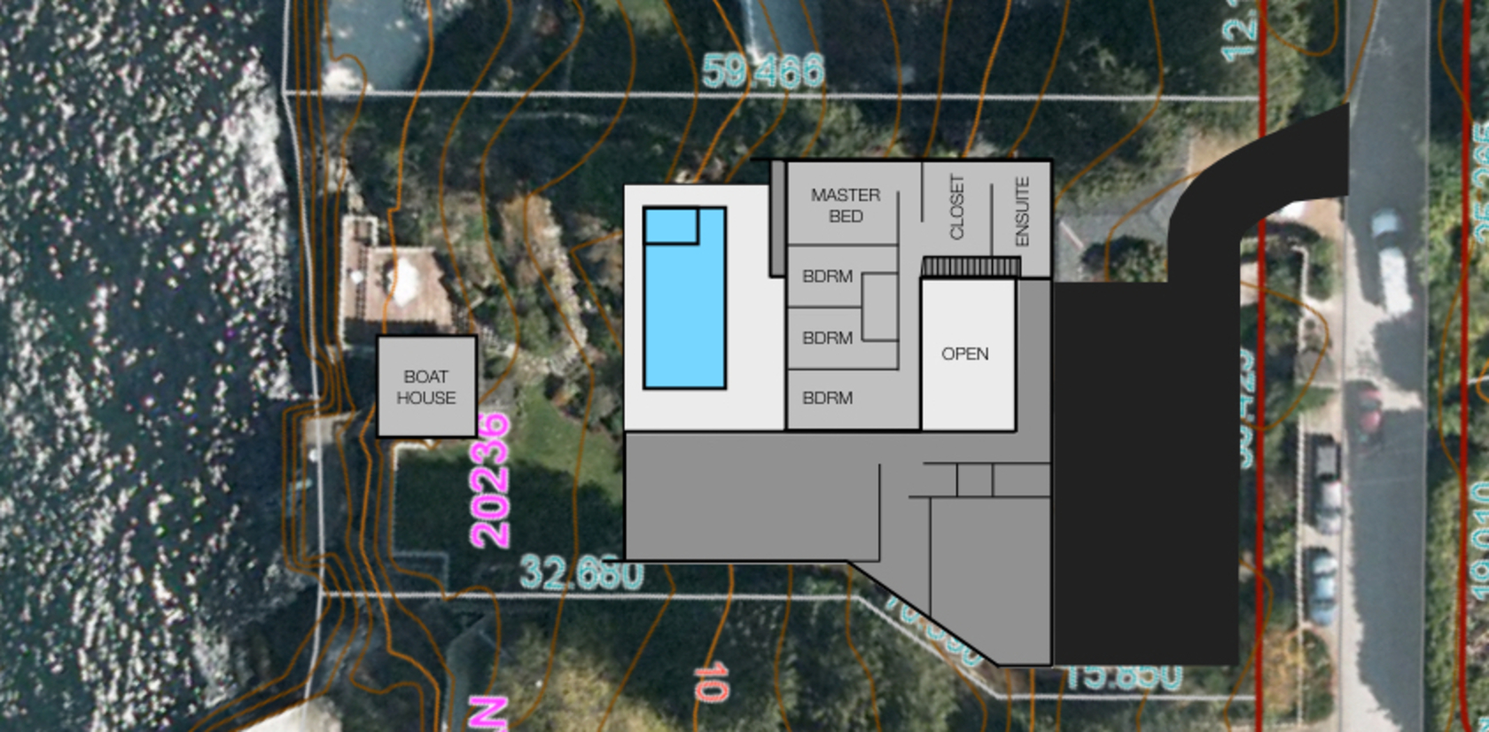 7270 Arbutus - lot lines & second floor at 7270 Arbutus Road, Whytecliff, West Vancouver