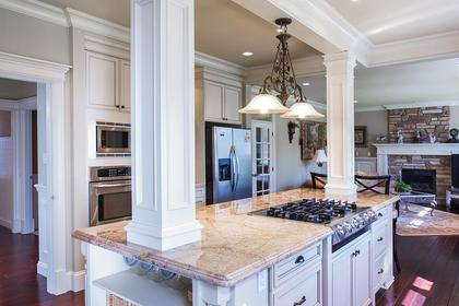 Kitchen island at 3756 Winsford Court, Government Road, Burnaby North