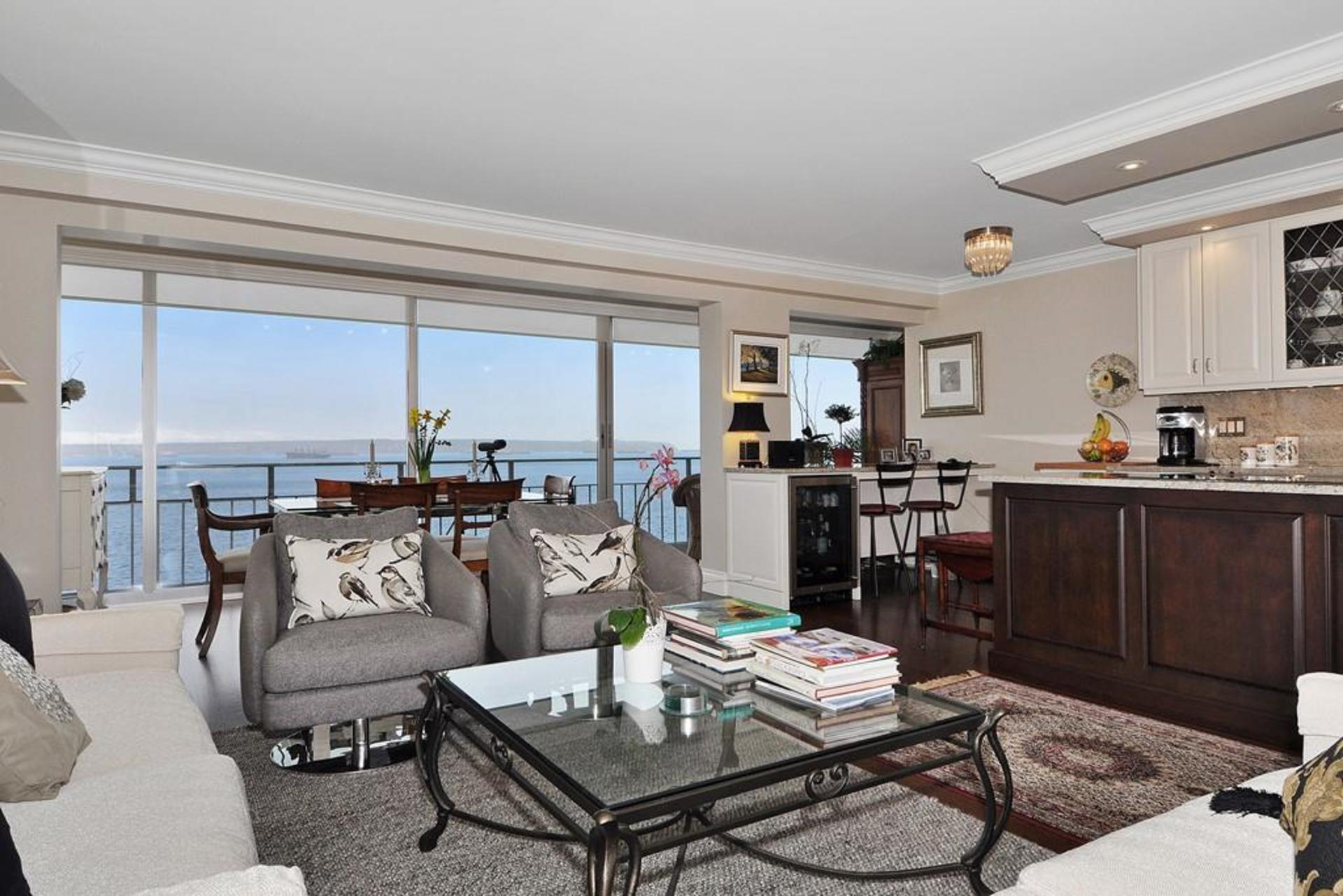 Living Room with ocean view at 603 - 150 24th, Dundarave, West Vancouver