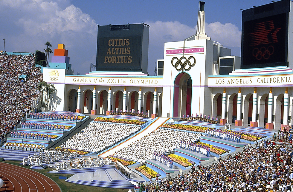 The Los Angeles Memorial Coliseum is the first stadium to host two Summer Olympics, 1932 and 1984, and will presumably do so again in 2028