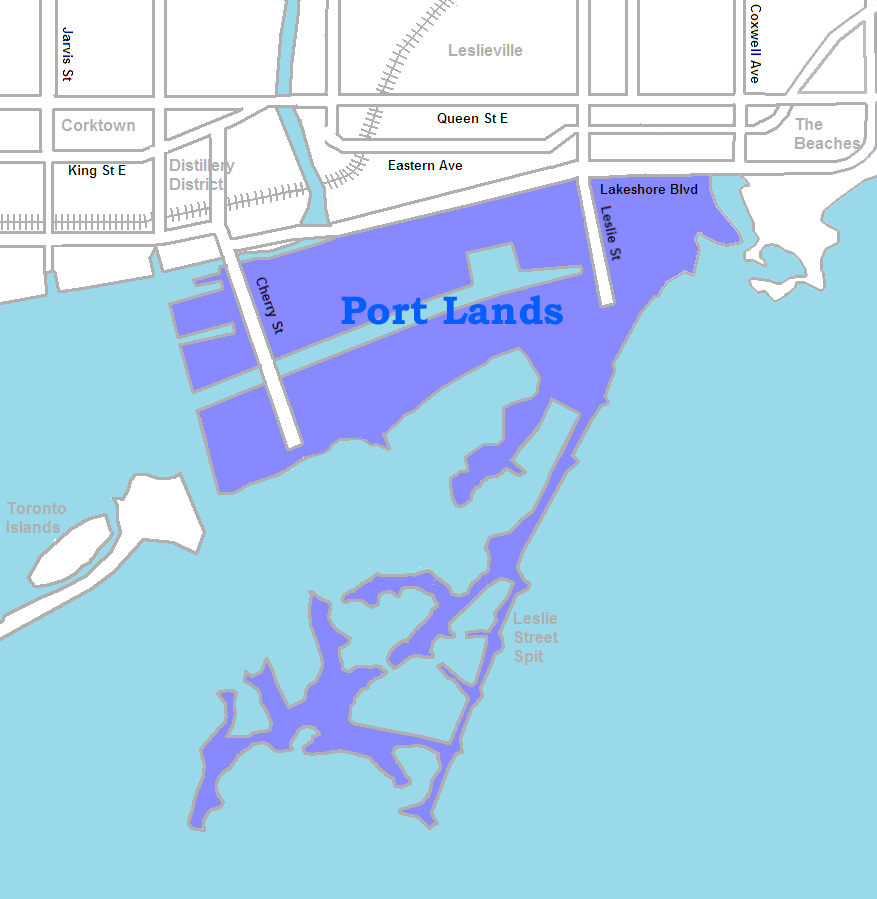 Toronto's Port Lands, By SimonP - Own work, CC BY-SA 3.0, https://commons.wikimedia.org/w/index.php?curid=6834963