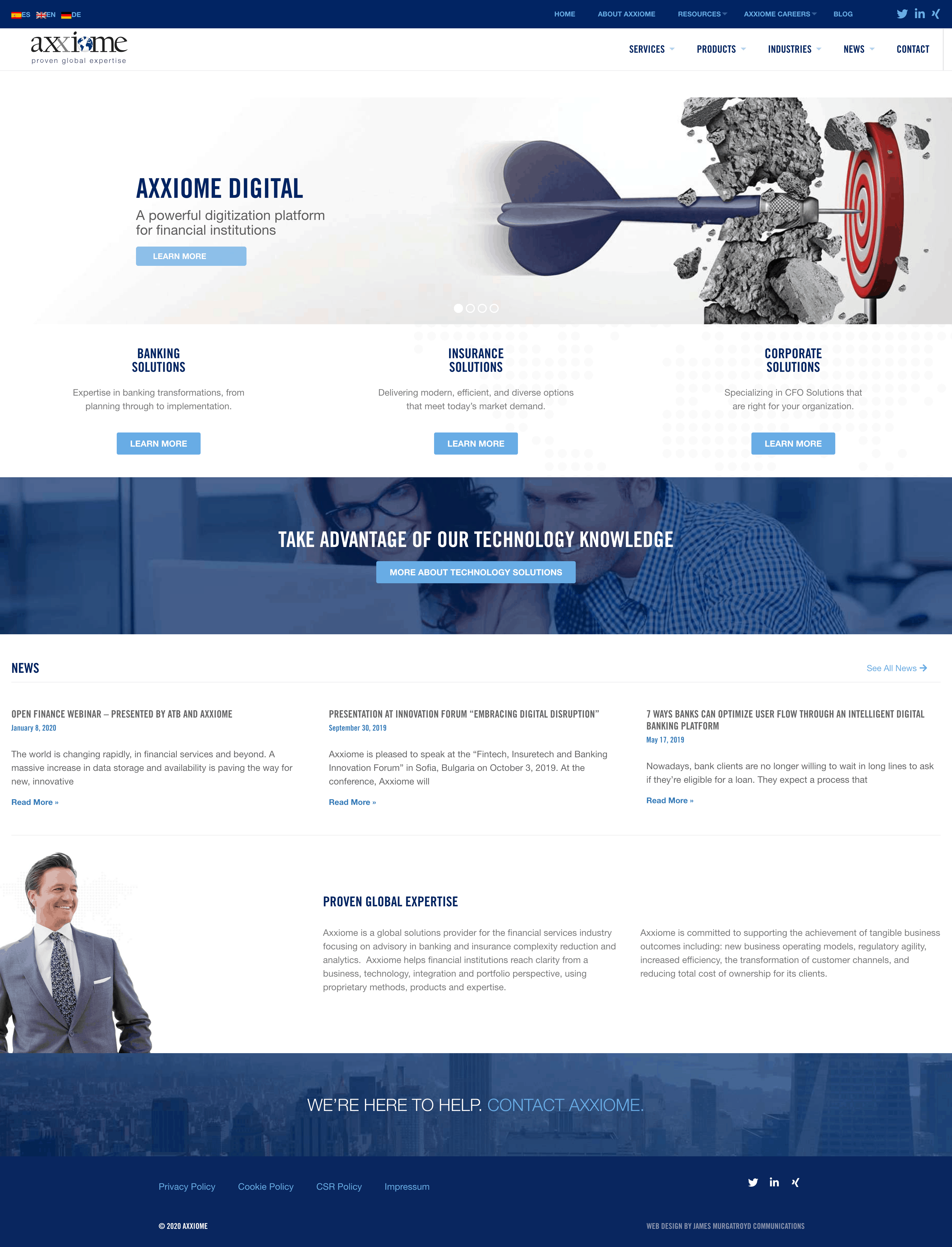 Axxiome Website Home Page Design