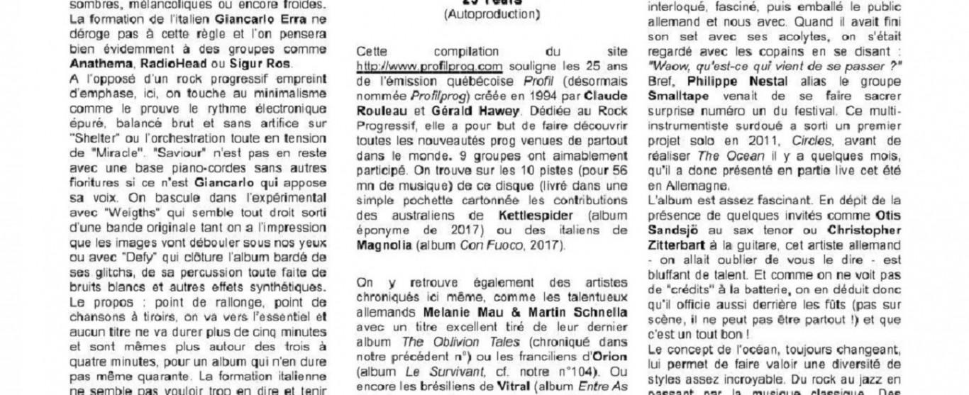 Profil dans le magasine français ``Koid'9 magazine rock & progressif``