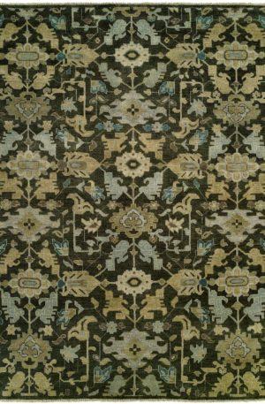 Azerbaijan Collection 4X6 Black Wool Area Rug
