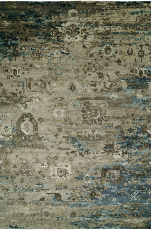 Penumbra Collection 4x6 Blue Wool & Silkette Rug