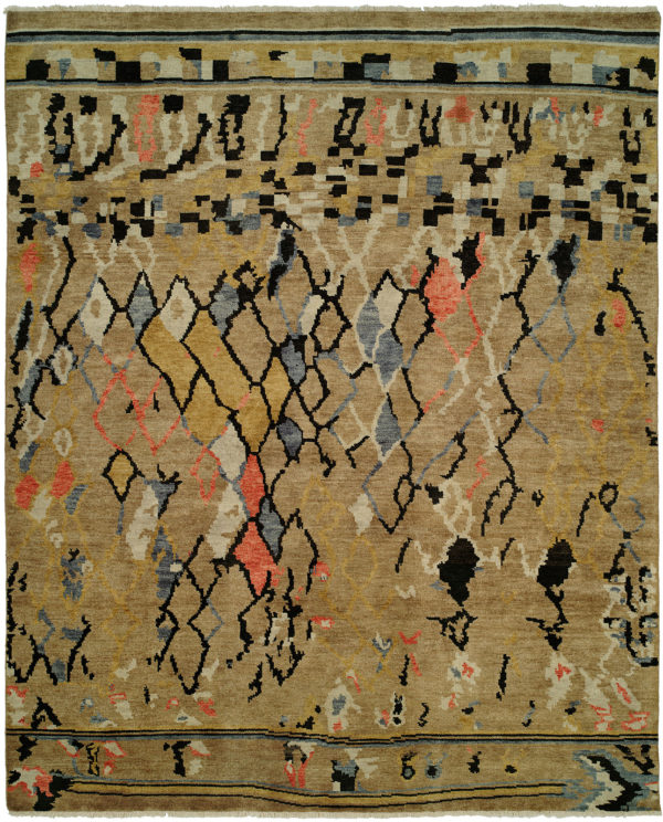 Castile Collection 6X9 Beige Wool Area Rug