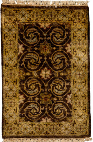 Traditional 2X3 Brown Gold Wool Area Rug