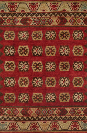 Rio Grande Collection 4X6 Red Wool Area Rug