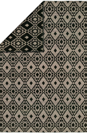 Flatweave Contemporary 4X6 Black Purple Wool Area Rug