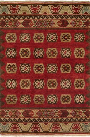 Rio Grande Collection 6X9 Red Wool Area Rug