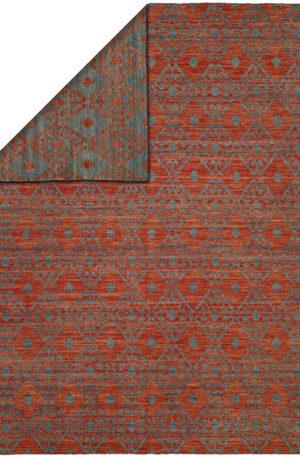 Flatweave 4X6 Blue Red Wool Area Rug