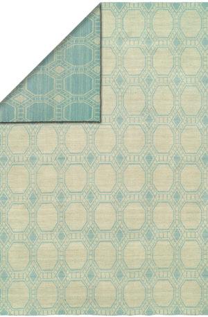 Flatweave Contemporary 4X6 Blue Wool Area Rug