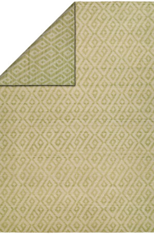 Flatweave 4X6 Green Wool Area Rug
