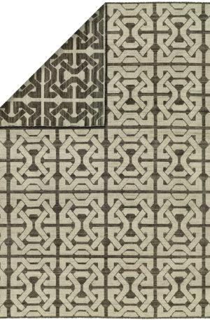 Flatweave Contemporary 4X6 Ivory Black Wool Area Rug