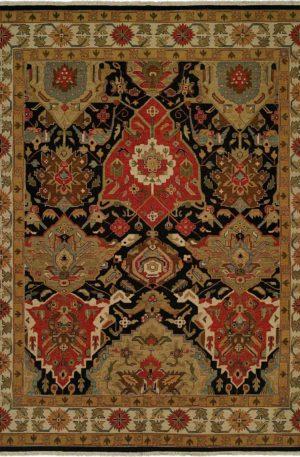 6X9 Black Beige Wool Area Rug