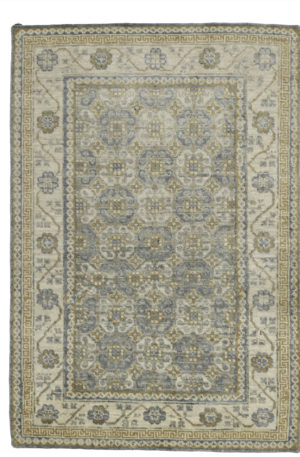 Transitional 4X6 Gray Ivory Wool Area Rug