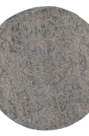 6' Round Transitional Silver Wool Area Rug