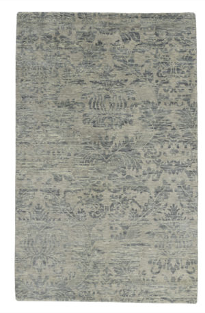 Transitional 5X8 Silver Wool Area Rug