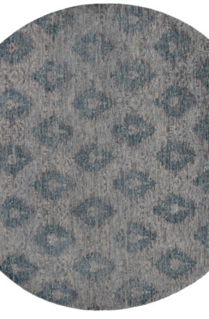 8' Round Transitional Blue Gray Wool Area Rug