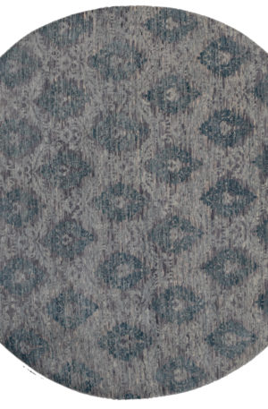 8' Round Transitional Grey Wool Area Rug