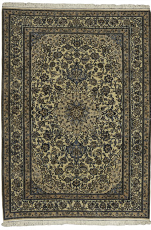 Persian Nain 4X6 Ivory Ivory Wool Area Rug