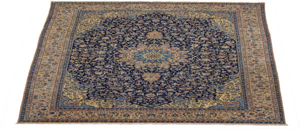 Persian Nain 10X14 Blue Beige Wool Area Rug