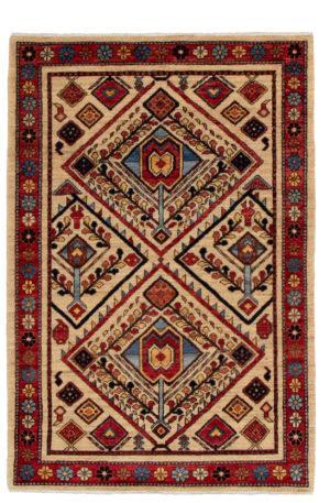 James Opie 3X5 Ivory Red Wool Area Rug