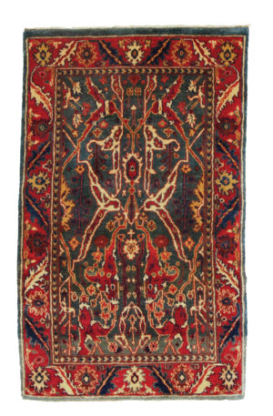 3X5 Blue Red Wool Area Rug