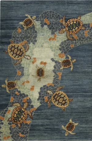 4X6 Blue Wool Area Rug