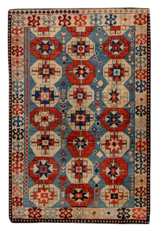 4X6 Blue Ivory Wool Area Rug