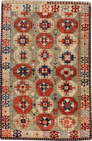 Yatak 4X6 Blue Ivory Wool Area Rug