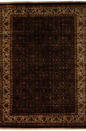 9X12 Black Beige Wool Area Rug