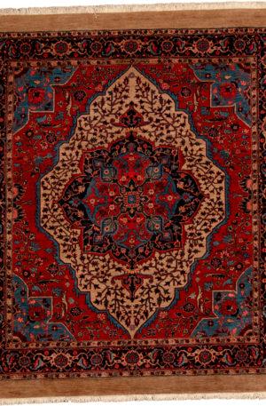 Persian Heriz 5X8 Red Blue Wool Area Rug