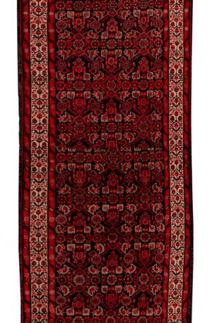 Persian Hamadan Runner Black Ivory Wool Area Rug