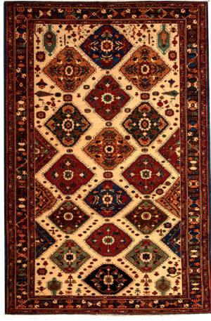 Turkish Repeating Motifs 8X10 Ivory Black Wool Area Rug