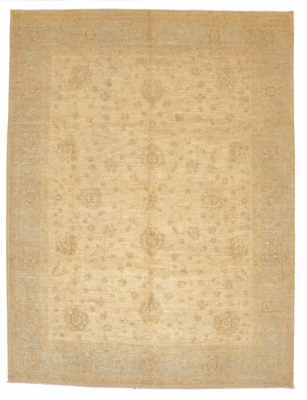 Chobi Design 10X14 Beige Blue Wool Area Rug