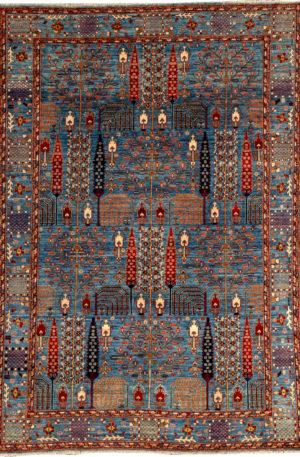 Afghan 6X9 Blue Blue Wool Area Rug
