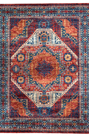 9X12 Red Blue Wool Area Rug