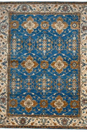 9X12 Blue Ivory Wool Area Rug