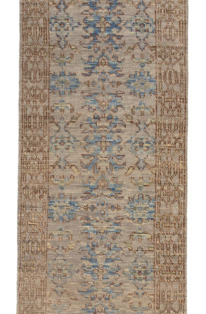 Transitional Runner Silver Silver Wool Area Rug