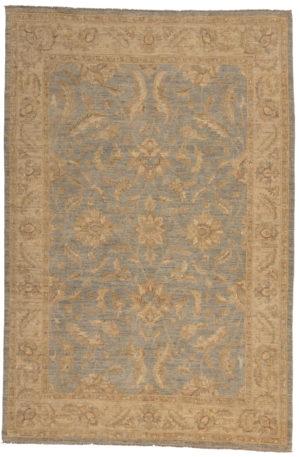 Chobi Design 6X9 Blue Ivory Wool Area Rug