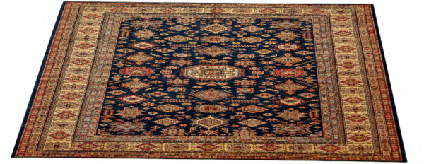 Kazak Design 10X14 Blue Ivory Wool Area Rug